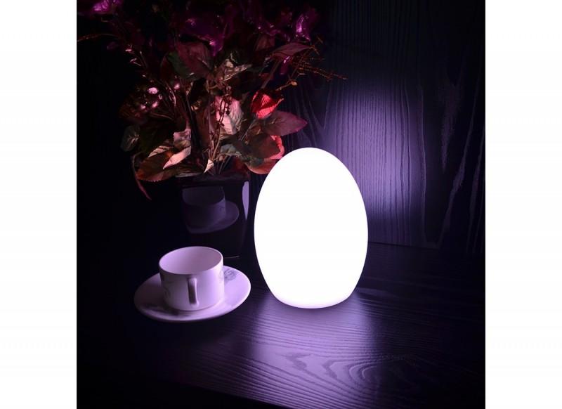 Lampa ogrodowa LED w kształcie małego jajka. Przenośna i indukcyjna, różne kolory.