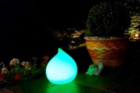 Przenośna, indukcyjna lampa ogrodowa LED BelGiardino - okrągła kropelka. Różne funkcje i kolory