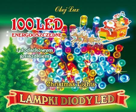 Lampki choinkowe L100Gpk - łańcuch wewnętrzny- przeźroczsty kabel - z dodatkowym gniazdem - 100 diod LED