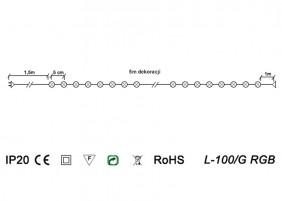 Lampki choinkowe L-100/G RGB - schemat techniczny