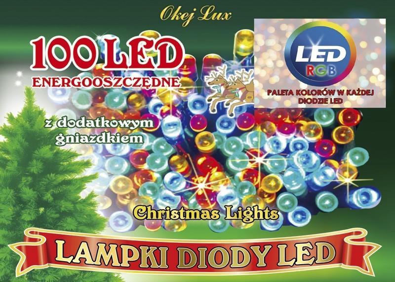 Światełka choinkowe L-100/G RGB 7 kolorów w diodzie, możliwość łączenia