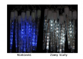 Sople wewnętrzne LED, płynące - 8 szybkości, kolor zimny biały lub niebieski