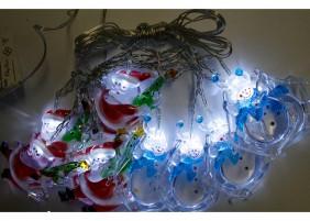 Mikołaje i Bałwanki LED na choinkę- kryształowe nakładki, światło zimne białe