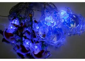 Mikołaje i Bałwanki LED na choinkę- kryształowe nakładki, światło niebieskie