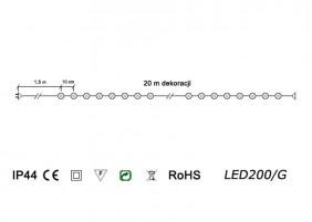 Lampki zewnętrzne LED200/G - schemat techniczny