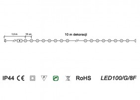 Oświetlenie świąteczne 8 funkcji LED100/G/8F - schemat techniczny