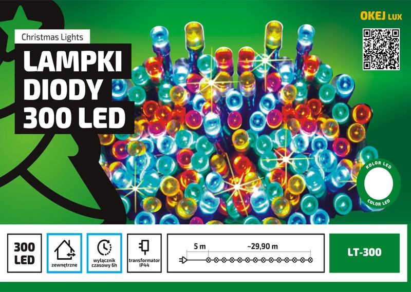Długi łańcuch LED - 30m, zewnętrzny, różne kolory, z wyłącznikiem czasowym