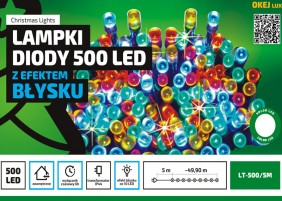 Błyskające lampki świąteczne LED z wyłącznikiem czasowym, łańcuch 50m