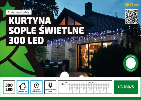 Kurtyna sople świetlne LED - 14,5m dekoracji w różnych kolorach