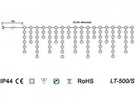 Zewnętrzne sople LED z wyłącznikiem czasowym LT-500/S - schemat techniczny