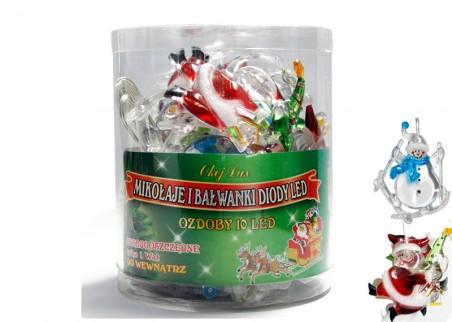 Mikołaje i Bałwanki LED na choinkę- kryształowe nakładki