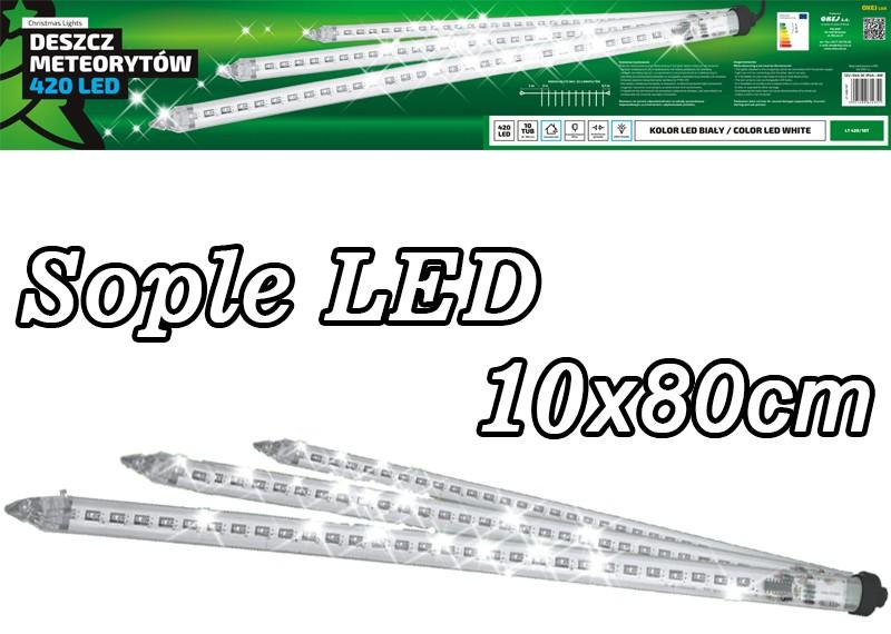 Zewnętrzne sople LED - 10 tub po 80cm z efektem deszcz meteorytów