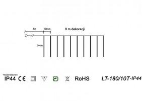 Kurtyna LT-180/10T-IP44 - schemat techniczny