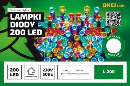 Lampki choinkowe Okej Lux, łańcuch wewnętrzny, 50 diod LED, różne kolory
