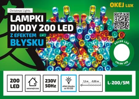 Lampki choinkowe L-200/5M, co 10 błyskająca, 200 diod LED