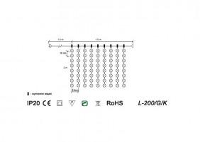 Kurtyna wewnętrzna LED L200/G/K - schemat techniczny