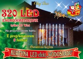 Kurtyna LEDowa z efektem wodospadu, 8 trybów świecenia