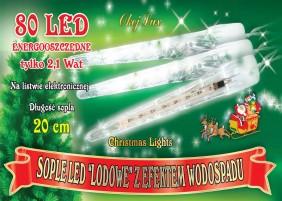10 sopli LED po 20cm z haczykami, kolor zimny biały lub niebieski