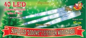 10 sopli LED po 40cm, kolor zimny biały lub niebieski
