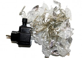 Kryształowe ozdoby na choinkę - aniołki ze srebrnymi skrzydełkami, kolor światła zimny biały