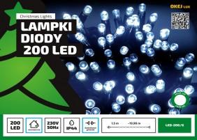 Zewnętrzne lampki choinkowe - 200 diod w łańcuchu