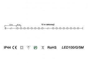 Zewnętrzne lampki LED100/G/5M - schemat techniczny