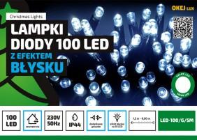 Błyskające lampki choinkowe LED, zewnętrzne, 100 diod