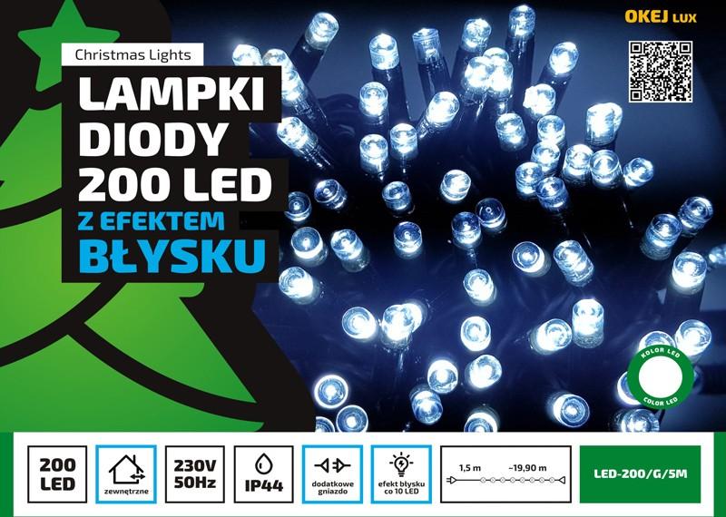 Błyskające Lampki Choinkowe łańcuch Zewnętrzny 20m Dodatkowe Gniazdo 200 Diod Led Różne Kolory