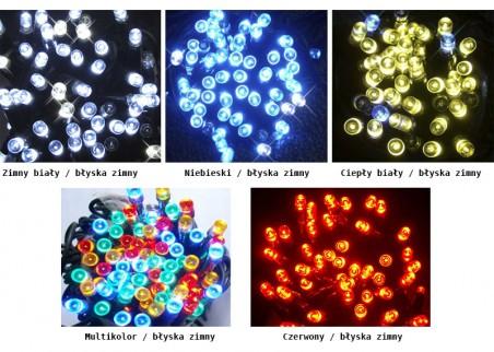 Zewnętrzne, błyskające lampki choinkowe - dostępne kolory