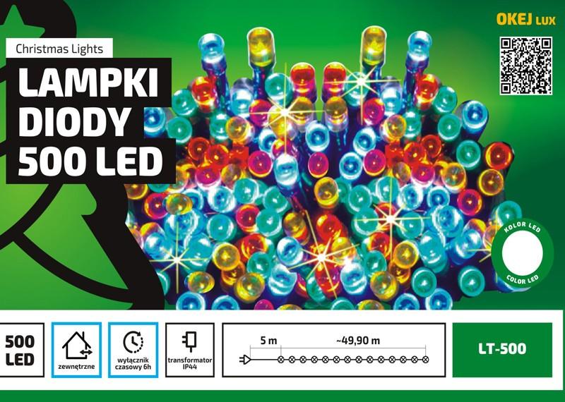 Zewnętrzne lampki LED z wyłącznikiem czasowym, łańcuch 50m