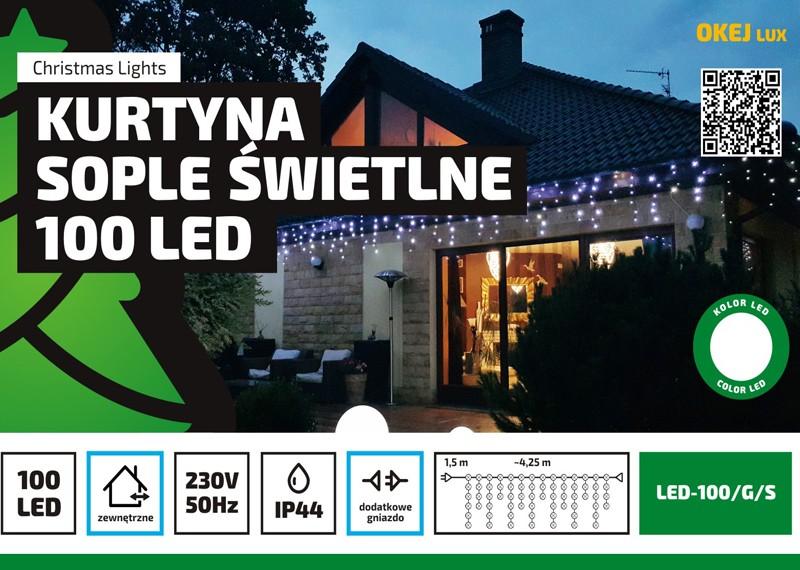 Sople zewnętrzne LED, kurtyna świetlna w różnych kolorach z możliwością łączenia