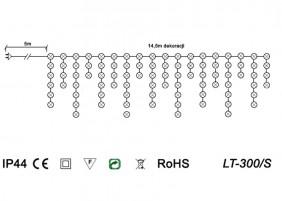 Zewnętrzne sople LED z wyłącznikiem czasowym LT-300/S - schemat techniczny