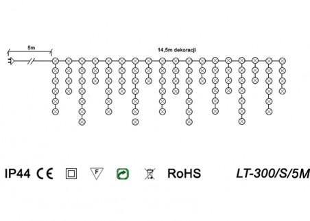 Zewnętrzne sople LED z efektem błysku LT-300/S/5M - schemat techniczny
