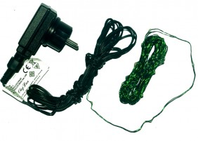 Zewnętrzne lampki mini LED na zielonym, giętkim drucie, kolory niebieski i zimny biały