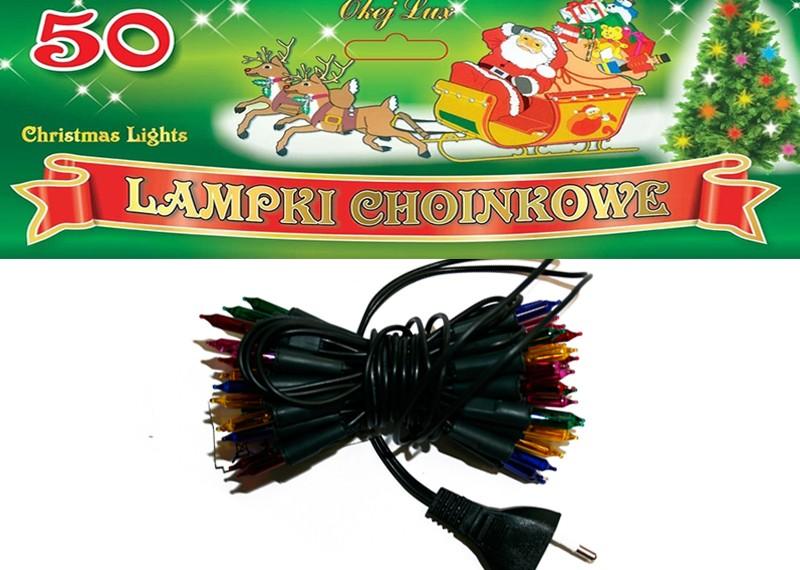 żarówkowe Lampki Choinkowe Wewnętrzne 50 żaróweczek 6 Kolorów