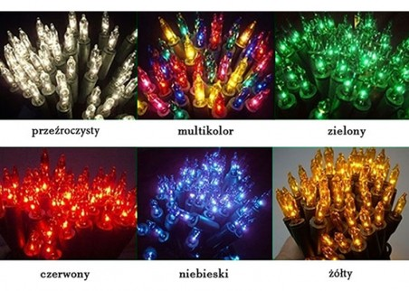 Tradycyjne lampki choinkowe (żarówkowe) - dostępne kolory