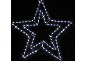 Gwiazda z węża świetlnego - dekoracja świąteczna miast, kolor zimny biały, efekt błysku