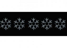 5 śnieżynek z węża LED, łącznie 30m węża, kolor zimny biały, efekt błysku