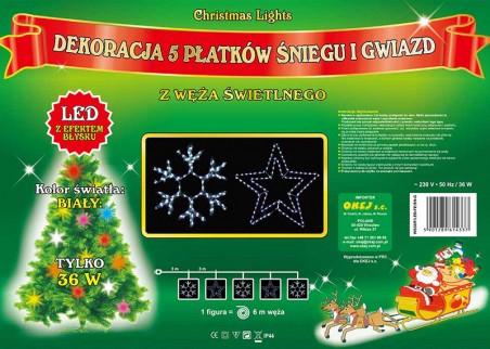 Mix figur z węża świetlnego - 3 śnieżynki i 2 gwiazdy, efektowne ozdoby świąteczne miast w kolorze zimnym białym