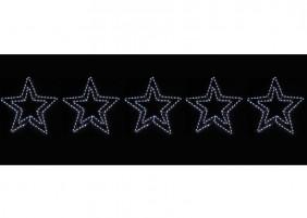 5 gwiazd z węża świetlnego, kolor zimny biały. Łącznie 30m węża. Dekoracja świąteczna z efektem błysku