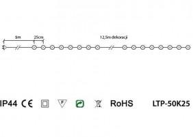 Lampki ogrodowe LTP-50K25 - schemat techniczny