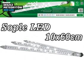Sople LED - 10 tub po 60cm z efektem deszczu meteorytów. Świąteczne ozdoby zewnętrzne LED