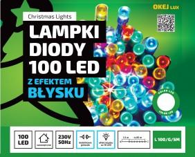 Lampki choinkowe z efektem błysku i dodatkowym gniazdem. Oświetlenie świąteczne Okej Lux