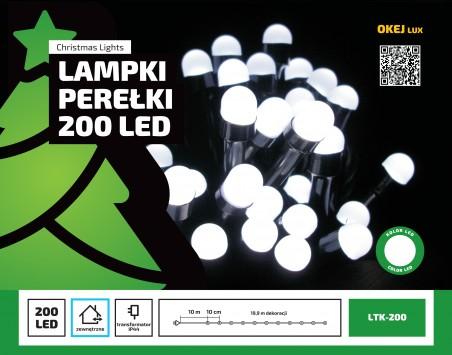 """Lampki LED zewnętrze - """"PEREŁKI"""" - łańcuch 20m"""