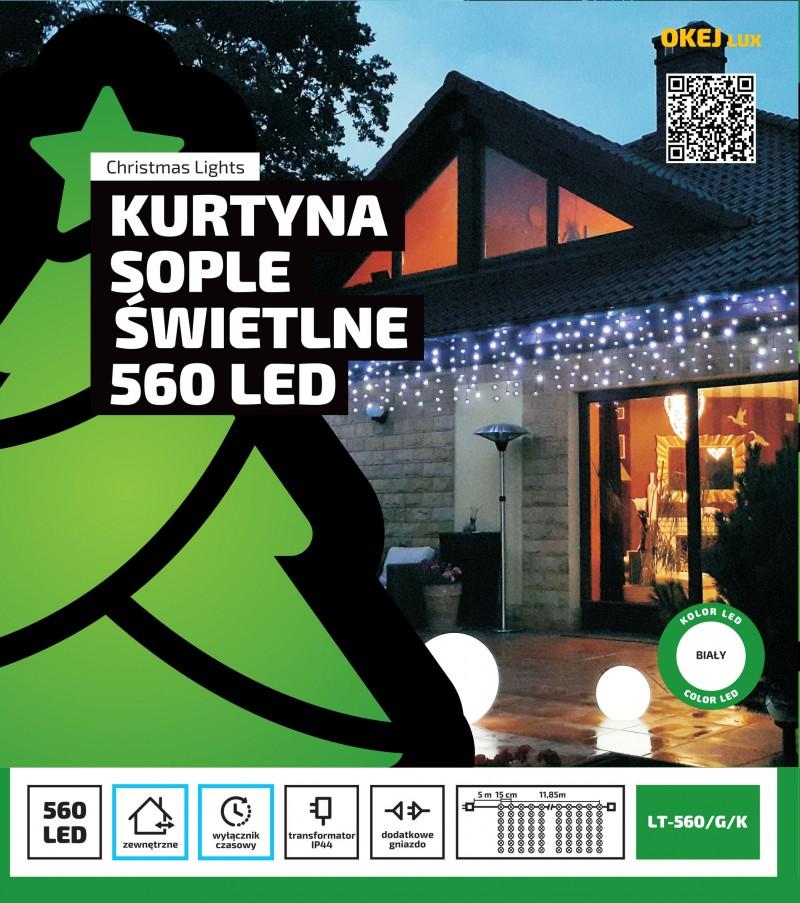 Kurtyna świetlna LED z timerem, sople LED, możliwość łączenia. 560 LED