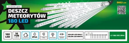 Kurtyna Sople LED zewnętrze. 10 sopli LED z efektem deszcz meteorytów.