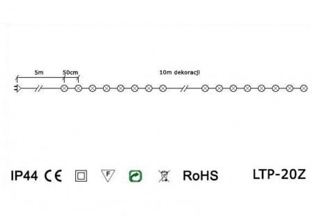 Lampki ogrodowe LED LTP-20Z - schemat techniczny