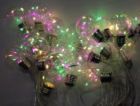 Lampki ogrodowe LED, 6 diod w każdej żarówce, 20 żarówek multikolor