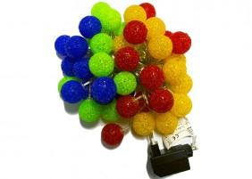 Lampki LED z nakładkami w kształcie ażurowych kul 4cm - multikolor