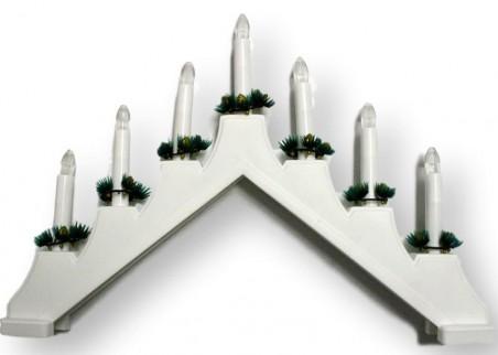 Świecznik adwentowy na 7 plastikowych świeczek - kolor stelaża biały, czerwony lub niebieski